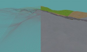 Terrain wireframe and solid